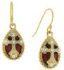 Gold-Tone Crystal with Red Enamel Cross Drop Earrings