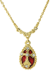 "Gold-Tone Crystal with Red Enamel Cross Pendant Necklace 16"" Adj."