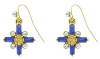 Gold Cross Earrings with Sapphire Baguettes