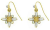 Gold Cross Earrings with Clear Baguettes