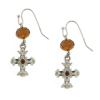 Topaz Crystals Silver Cross Earrings