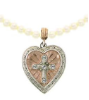 Crystal Heart Pendant Pearl Necklace