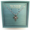 Dainty Silver and Crystal Cross Vatican Necklace