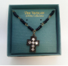 Black Bead Swarovski Crystal Vatican Cross Necklace