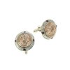 Rose Gold and Silver-Tone Mary Round Cuff Links