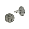 "Silver-Tone ""All Saints"" Round Cuff Links"