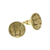 "Gold-Tone ""All Saints"" Round Cuff Links"