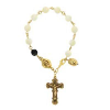 Genuine Mother-of-Pearl & Jet Crystal Rosary Bracelet