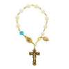 Genuine Mother-of-Pearl & Blue Zircon Crystal Rosary Bracelet