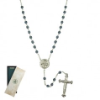 Mary and Child Blue Crystal Locket Rosary