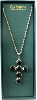 Black Crystal and Silver Cross Necklace