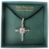 Silver and Blue Crystal Cross Vatican Library Collection Necklace (SKU: P7447VJ)