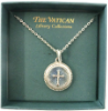 Gold Pendant Crystal Cross Vatican Necklace