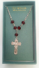 Silver-tone and Ruby Crystals Cross Vatican Necklace
