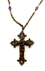 Large Antique Brass Vatican Cross Necklace