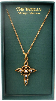 Gold and Clear Crystals Vatican Cross Necklace