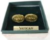 Gold and Silver-Tone Mary Round Cuff Links