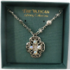 Ornate Silver and Clear Crystal Pendant Vatican Library Necklace