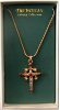 Gold Ruby, Crystal Vatican Library Cross Necklace