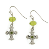 Peridot Crystals Silver Cross Earrings