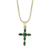 Gold Emerald Crystal Cross Necklace
