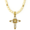 Crystal Cross Gold Tone Simulated Pearl Necklace