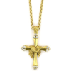 Heavenly Devotion Gold Tone Draped Crystal Cross Necklace (SKU: P4784)
