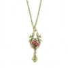 Gold Heart and Flower Pendant Necklace