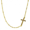 Gold Diamond Cut Crystal Cross Necklace
