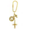 Gold 3 Trinity Cross Charms Keychain