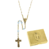 Aquamarine-March Birthstone Rosary and Rosary Box