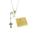 Emerald-May Birthstone Rosary and Rosary Box