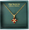 Gold Cross Necklace with Ruby Baguettes