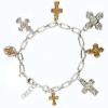 "14k Gold-Dipped Crystal Cross Pendant Necklace 16"" Adj"