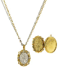 14K Gold Dipped & Silver Tone Crystal AB Angel Locket Double Strand Necklace