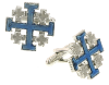 Silver-Tone and Blue Enamel Jerusalem Cross Cuff Links