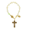 Genuine Mother-of-Pearl & Peridot Crystal Rosary Bracelet