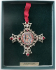 'E' Silver and Ruby Crystal Vatican Collection Ornament