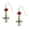 Red Crystals Silver Cross Earrings