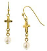Pearl Drop Gold Cross Earrings