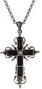 Jet Black Crystal Silver-Plate Cross Necklace