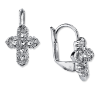 Silver Crystal Cross Leverback Earrings