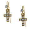 14K Gold-Dippes Crystal Cross Earrings