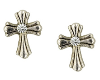 Silver Crystal Cross Stud Earrings