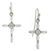 Silver Cubic Zirconia Cross Earrings