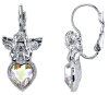 Silver & Crystal Angel Heart Earrings (SKU: 91107)