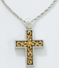Gold and Silver Scrolly Cross Necklace