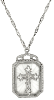 Silver-Tone Frosted Stone with Crystal Cross Large Pendant Necklace 28""