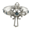 Silver Sapphire Cross Ring