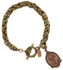 Mixed Metal St. Anthony and Baby Jesus Medal Toggle Bracelet